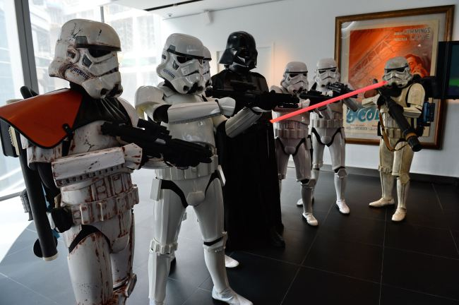 Staff dressed up as Stormtroopers and Da