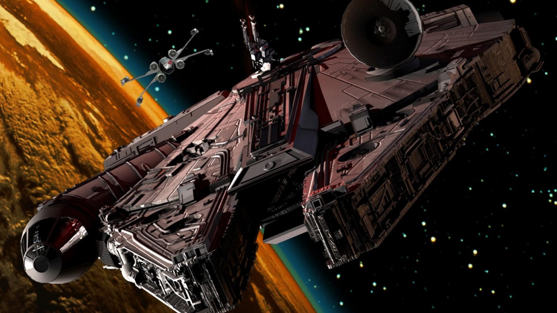 Тысячелетний Сокол и X-Wing на съемках «Звездных войн»